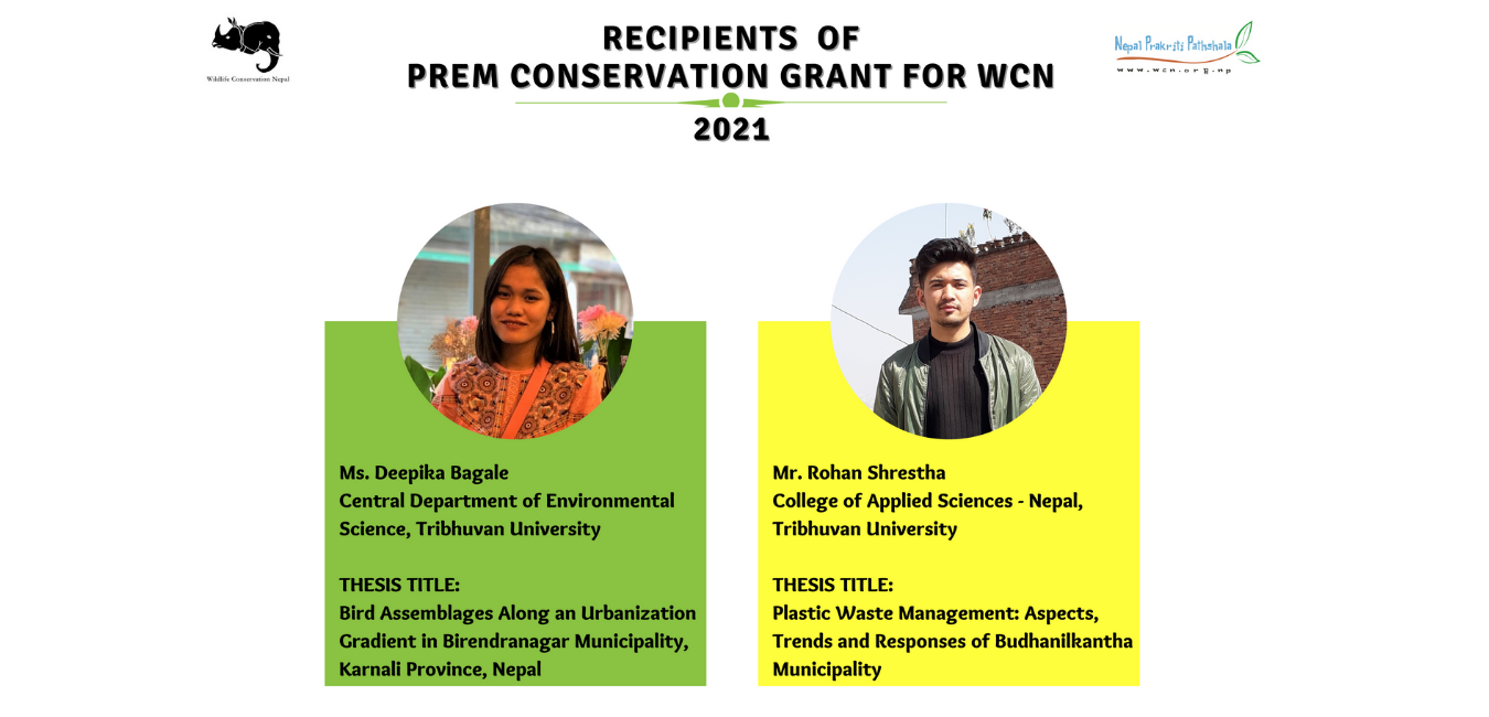 Recipients of Prem Conservation Grant for WCN 2021